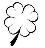 Trevo preto e branco de quatro folhas Fotografia de Stock