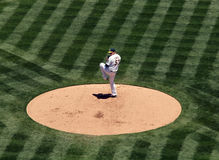 Trevor Cahill lifts leg as he prepares to pitch Royalty Free Stock Images
