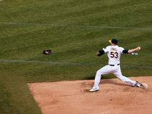 Trevor Cahill steps forward to throw a pitch Royalty Free Stock Image