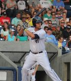 Trevor Mitsui. First baseman for the Hillsboro Hops, single A team for the D-backs at Ron Tonkin field 8,16,15 stock photography