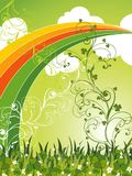 Trevos campo e arco-íris de patrick de Saint ilustração royalty free