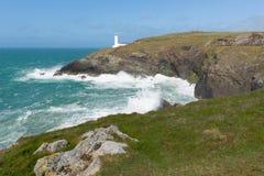 Trevose för norr Cornwall kust Head cornisk kustlinje mellan Newquay och Padstow Royaltyfria Bilder
