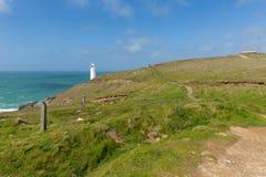 Trevose Head den norr Cornwall kusten mellan Newquay och Padstow engelsk maritim byggnad Arkivfoto