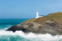 Trevose Head Lighthouse North Cornwall coast between Newquay and Padstow English maritime building Royalty Free Stock Photo