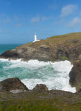 Trevose Head Lighthouse North Cornwall coast between Newquay and Padstow English maritime building Stock Photography