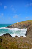 Trevose Head Lighthouse North Cornwall coast between Newquay and Padstow Royalty Free Stock Photography