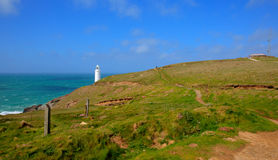 Trevose Head North Cornwall coast between Newquay and Padstow. Trevose Head Lighthouse North Cornwall coast between Newquay and Padstow in rough seas Royalty Free Stock Photography