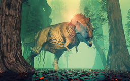 Trex dinosaur. In a mysterious forest. This is a 3d render illustration Stock Image