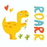 Trex jaune mignon Dino Carte de voeux de Roarr illustration stock