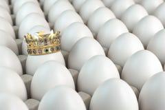 Trey με τα άσπρα αυγά και ένα αυγό με την κορώνα Indiciduality και καλύτερη έννοια επιλογής στοκ φωτογραφία με δικαίωμα ελεύθερης χρήσης