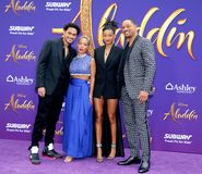 Trey Smith, Jada Pinkett Smith, Willow Smith and Will Smith. At the Los Angeles premiere of `Aladdin` held at the El Capitan Theatre in Hollywood, USA on May 21 stock image