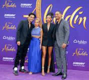 Trey Smith, Jada Pinkett Smith, Willow Smith and Will Smith. At the Los Angeles premiere of `Aladdin` held at the El Capitan Theatre in Hollywood, USA on May 21 stock photo