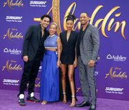Trey Smith, Jada Pinkett Smith, Willow Smith and Will Smith. At the Los Angeles premiere of `Aladdin` held at the El Capitan Theatre in Hollywood, USA on May 21 royalty free stock photo