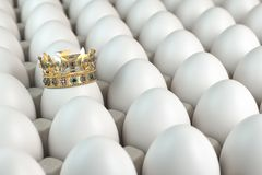 Trey with white eggs and one egg with crown. Indiciduality and best choice concept royalty free stock photography