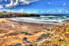 Treyarnon Bay Cornwall England UK Cornish north coast between Newquay and Padstow in colourful HDR Royalty Free Stock Image