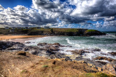 Treyarnon Bay Cornwall England UK Cornish north coast between Newquay and Padstow in colourful HDR Royalty Free Stock Photography
