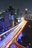 Tráfego de Shanghai na noite Foto de Stock Royalty Free