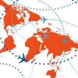 Tráfico aéreo colorido de los vuelos del recorrido de los planos de la línea aérea Imágenes de archivo libres de regalías