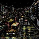 Tráfico de ciudad de la noche Imagen de archivo libre de regalías