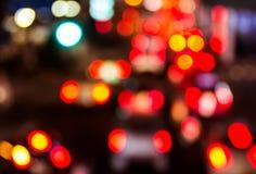Tráfico de la noche Falta de definición de movimiento Foto de archivo libre de regalías
