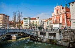 Trg de Presernov/cuadrado de Presern, Ljubljana, Eslovenia fotografía de archivo libre de regalías