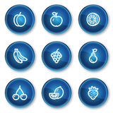 Trägt Web-Ikonen, blaue Kreistasten Früchte Stockbild
