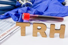 TRH Clinical laboratory medical acronym or abbreviation of thyrotropin releasing hormone, stimulates release of thyrotropin. Word royalty free stock photography