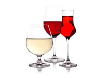 Trhee glass with red and white wine Stock Photo