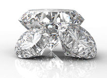 Trheediamant op wit wordt geïsoleerd dat Royalty-vrije Stock Afbeeldingen