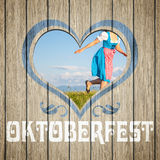 Trähjärta Oktoberfest Royaltyfri Fotografi