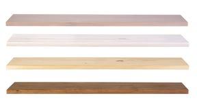 Trähyllor som isoleras på vit Arkivfoton