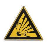 Triángulo amarillo explosivo Peligro amonestador Foto de archivo libre de regalías