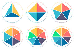 Triángulo, cuadrado, pentágono, hexágono, heptágono, octágono para el infographics Imagen de archivo