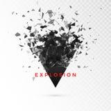 Triángulo de la oscuridad del fragmento Nube abstracta de pedazos después de la explosión Ejemplo del vector aislado en fondo tra libre illustration