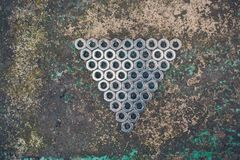 Triángulo de nueces del metal Imagen de archivo libre de regalías