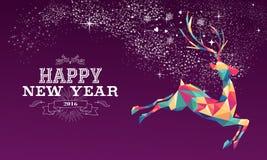 Triángulo 2016 del color del reno de la Feliz Año Nuevo Fotografía de archivo