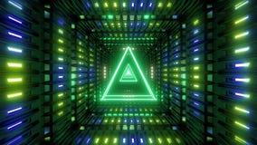 Triángulo del wireframe que brilla intensamente con la colocación sin fin brillante del lazo del vj del ejemplo del fondo 3d del  ilustración del vector