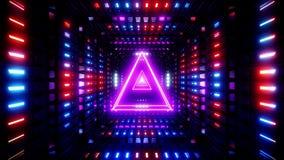 Triángulo del wireframe que brilla intensamente con la colocación sin fin brillante del lazo del vj del ejemplo del fondo 3d del  stock de ilustración