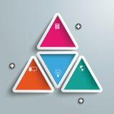 Triángulo grande con cuatro triángulos coloreados Infographic stock de ilustración