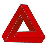 Triángulo imposible, ilusión óptica Foto de archivo libre de regalías