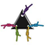 Triángulo negro del logotipo con la cuerda colorida Imagenes de archivo