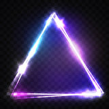 Triángulo que brilla intensamente en fondo transparente Imágenes de archivo libres de regalías