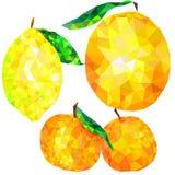 Triángulos abstractos de la fruta cítrica aislados en el fondo blanco, mandarina, naranja, limón Imagen de archivo libre de regalías