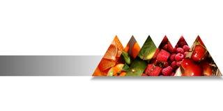 Triángulos abstractos por completo de frutas y del límite por una sola cinta stock de ilustración