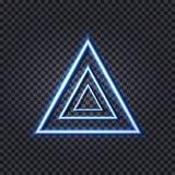 Triángulos azules de neón del vector, fondo futurista del ejemplo de Tehnology, luces del resplandor libre illustration
