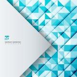 Triángulos azules del color del modelo geométrico abstracto con trian blanco Foto de archivo