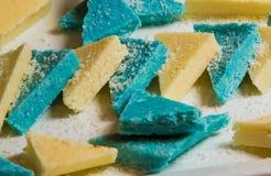 Triángulos azules y blancos de la charcutería Foto de archivo libre de regalías
