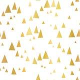 Triángulos dispersados de la hoja de oro en el modelo inconsútil blanco del vector Geométrico abstracto Paisaje abstracto de la m libre illustration