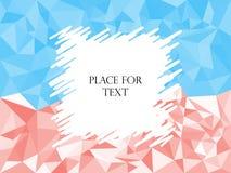 Triángulos rojos del extracto y azules geométricos, mosaico poligonal de la textura Tramando, espacio del marco para el texto Ilu ilustración del vector