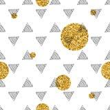 Triángulos y círculos de oro, lentejuelas Modelo inconsútil Fondo geométrico, abstracto Formas del garabato Foto de archivo